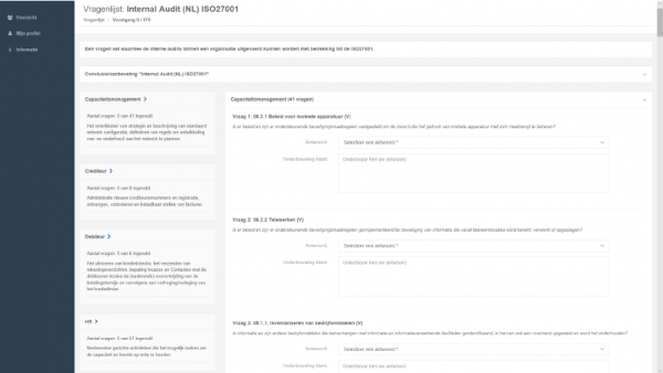 Audit-tool (Voorbeeld interne audit ISO27001)